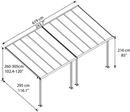 Palram 10x20 Olympia Patio Cover Measurements