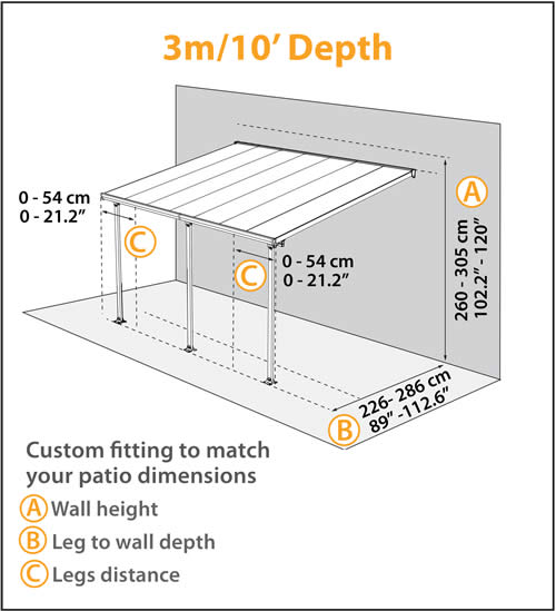 Palram 10x24 Feria Patio Cover Measurements Diagram