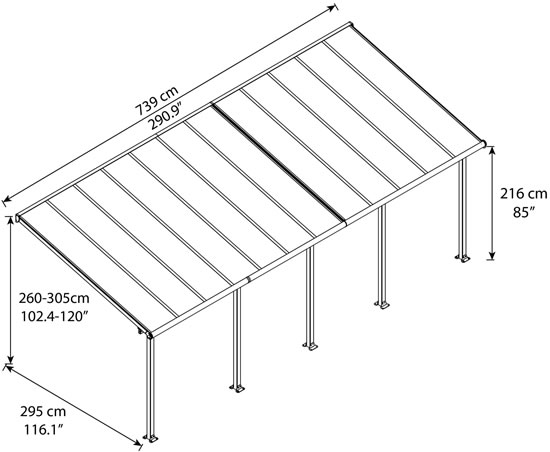 Palram 10x24 Olympia Patio Cover Measurements