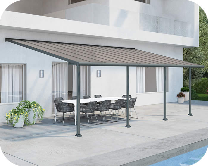 Palram 10x24 Olympia Patio Cover Kit Gray Bronze Hg8824
