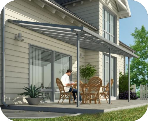Beautiful Palram 10x28 Feria Patio Cover Kit   Gray
