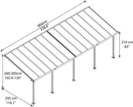 Palram 10x28 Olympia Patio Cover Measurements