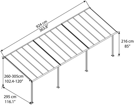 Palram 10x30 Olympia Patio Cover Kit Measurements