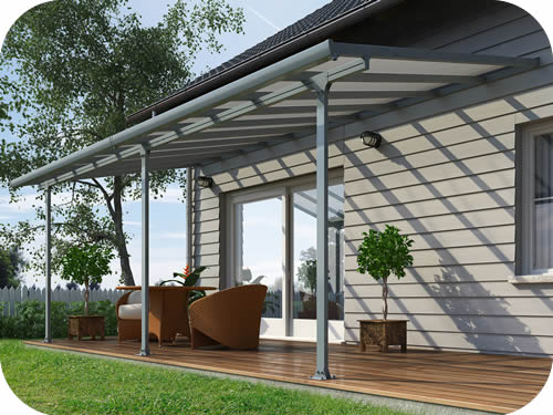 Palram 10x38 Feria Patio Cover Kit - Gray & Palram 10x38 Feria Patio Cover Kit - Gray (HG9438)