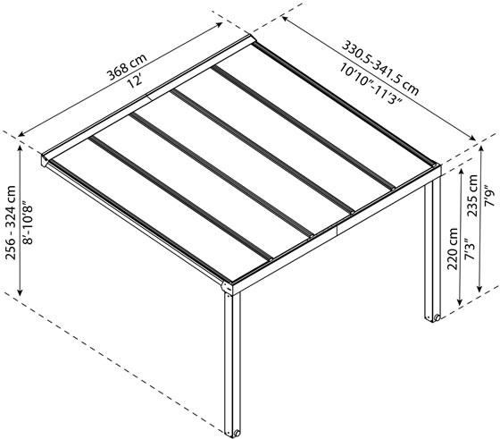 Palram Stockholm 11x12 Aluminum Patio Cover Kit Measurements Diagram