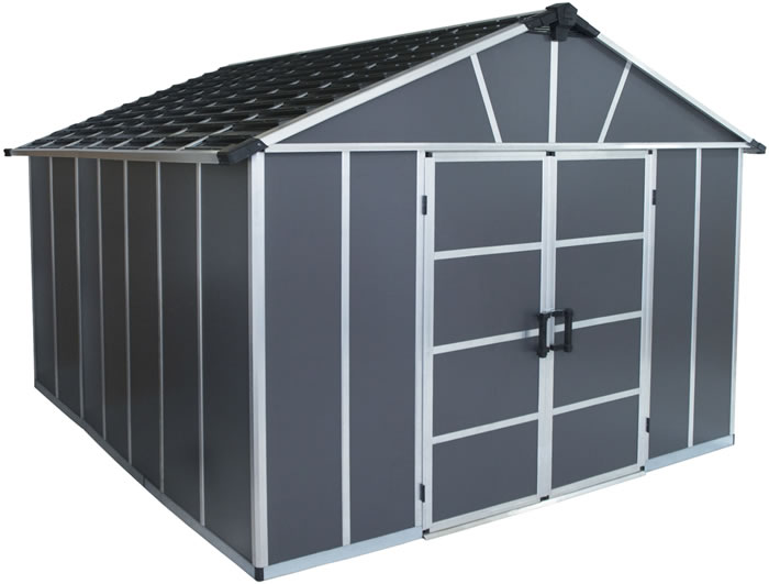 Palram Yukon 11x12 Plastic Storage Shed Kit - Gray