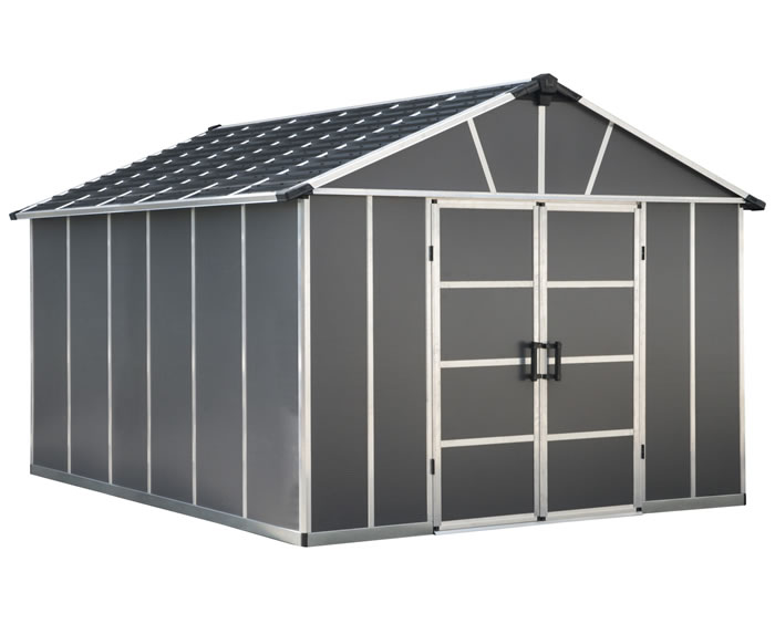 Palram Yukon 11x13 Plastic Storage Shed Kit - Gray