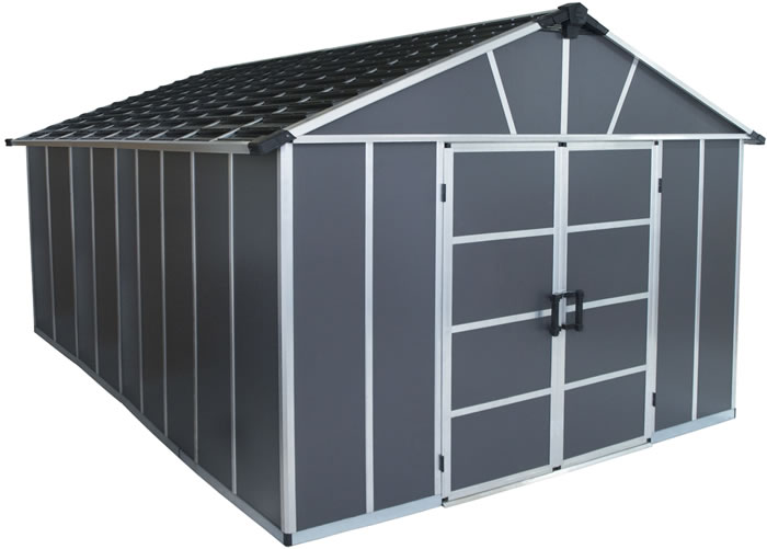 Palram Yukon 11x15 Plastic Storage Shed Kit - Gray