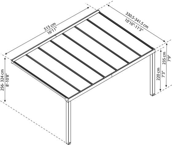 Palram Stockholm 11x17 Aluminum Patio Cover Kit Measurements Diagram