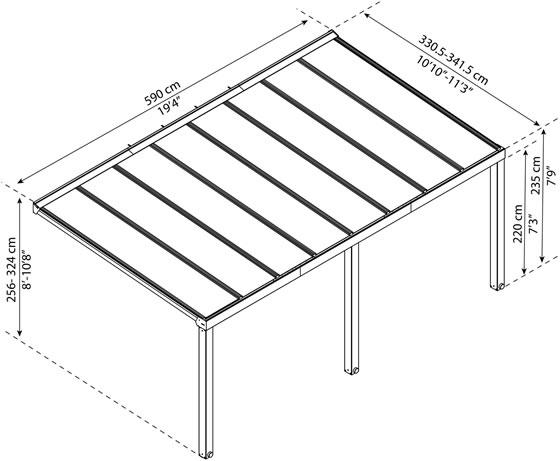 Palram Stockholm 11x19 Aluminum Patio Cover Kit Measurements Diagram