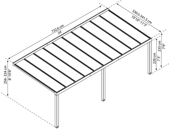 Palram Stockholm 11x24 Aluminum Patio Cover Kit Measurements Diagram