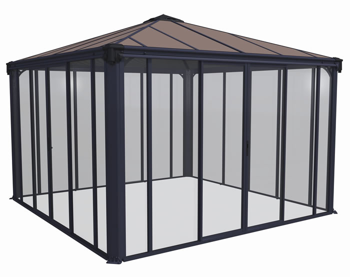 Palram 12x12 Ledro Enclosed Gazebo Kit - Gray / Bronze