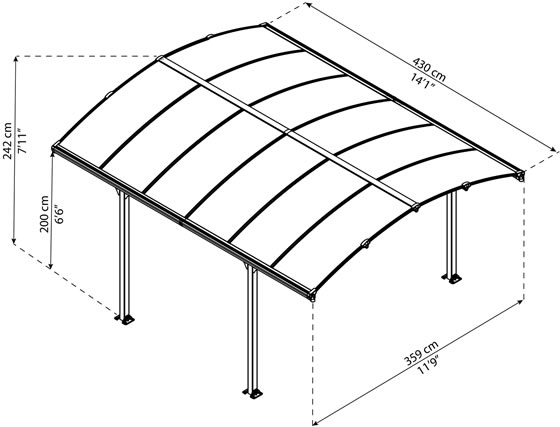 Palram 12x14 Arcadia Carport Measurements