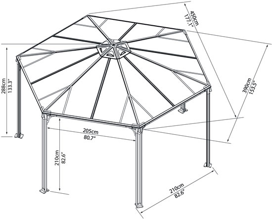 Palram Monaco Gazebo HG9160 Measurements Diagram