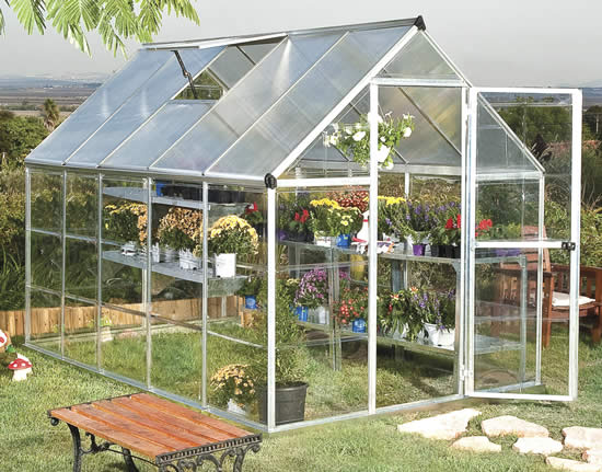 Palram 6x10 Hybrid Greenhouse Kit HG5510 Assembled In Backyard