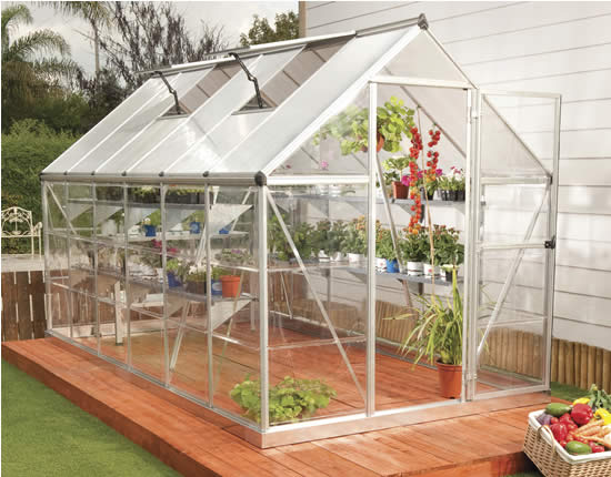 Palram 6x14 Hybrid Greenhouse Kit HG5514 Assembled In Backyard