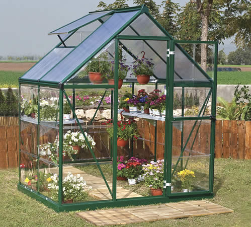 Palram 6x4 Hybrid Greenhouse Kit HG5504G Assembled In Backyard