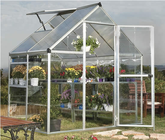 Palram 6x4 Hybrid Greenhouse Kit HG5504 Assembled In Backyard