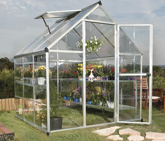Palram 6x6 Hybrid Greenhouse Kit HG5506 Assembled In Backyard