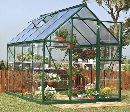 Palram 6x8 Hybrid Greenhouse Kit HG5508G Assembled In Backyard