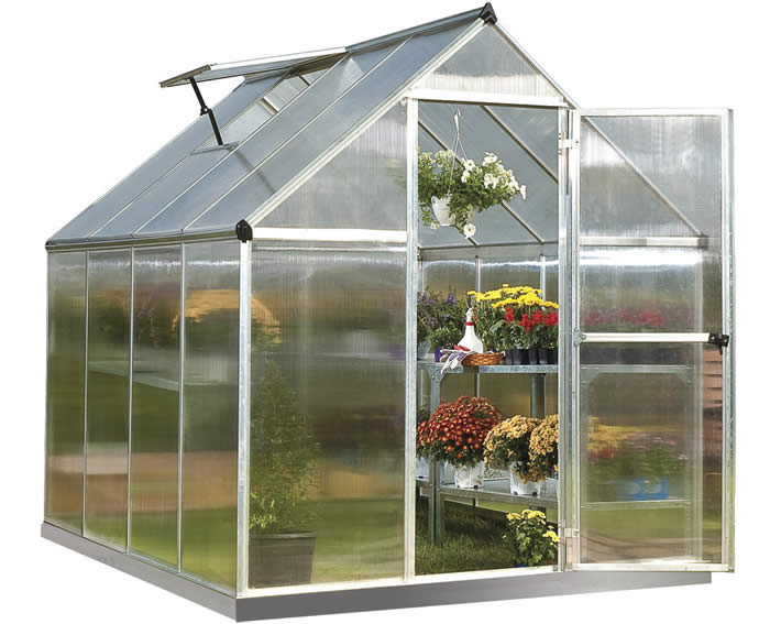 Palram 6x8 Mythos Hobby Greenhouse Kit - Silver