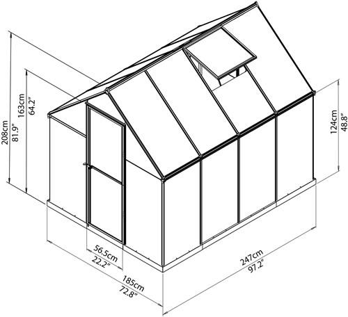 Palram 6x8 Mythos Hobby Greenhouse Kit Assembled Measurements