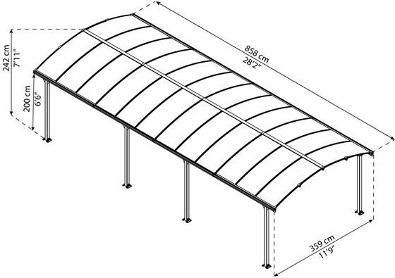Palram 12x28 Arcadia Carport Measurements