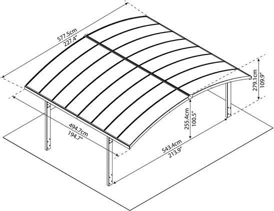 Palram Arizona Wave Double Arch Carport HG9103 Measurements