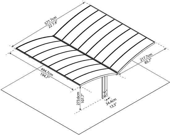 Palram Arizona Wave Double Wing Carport HG9101 Measurements