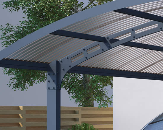 Palram Arizona Wave Double Arch Carport Corrugated Roof Panels