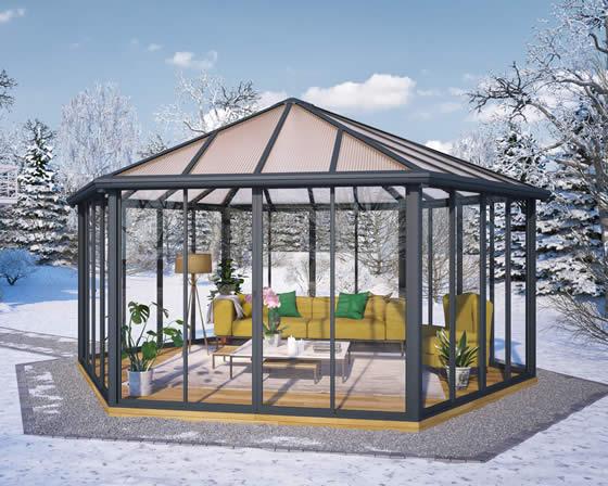 Palram Garda Sunroom Assembled in Backyard