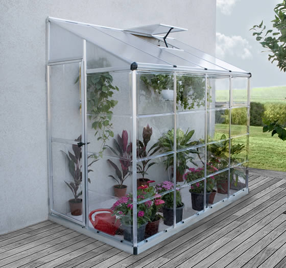 Palram 4x8 Hybrid Greenhouse Kit Assembled Side of Home