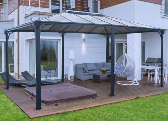 Palram Martinique 12x16 Gazebo HG9171 Assembled On Patio Deck