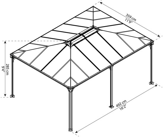 Palram Martinique 12x16 Gazebo HG9171 Measurements
