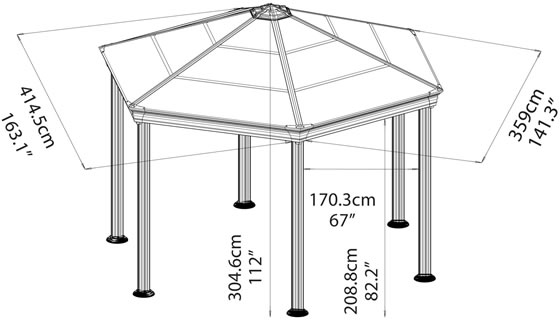 Palram 14x12 Roma Garden Gazebo Measurements Diagram