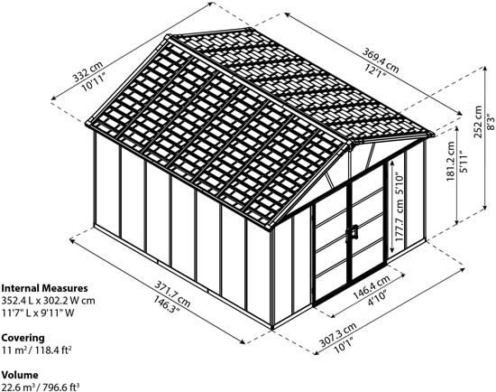 Palram Yukon 11x12 Shed Measurements