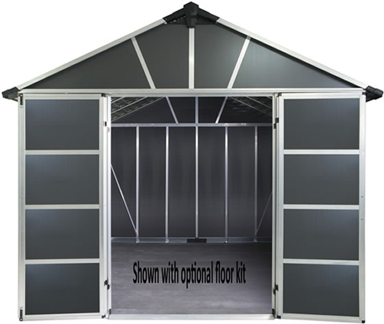 Palram Yukon 11x13 Shed Inside View - Floor Not Included