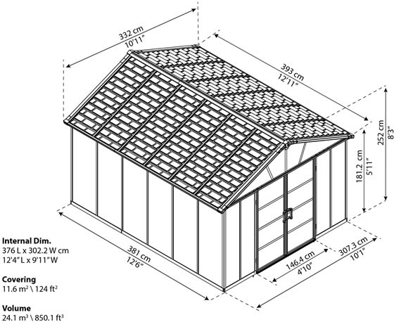 Palram Yukon 11x13 Shed Measurements