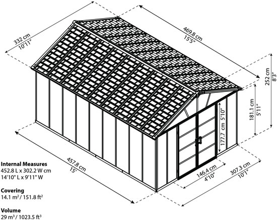 Palram Yukon 11x15 Shed Measurements