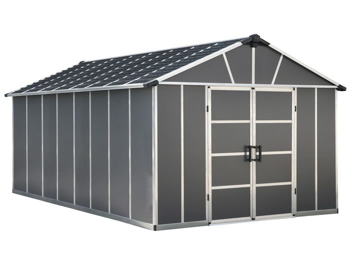 Palram Yukon 11x17 Plastic Storage Shed Kit - Gray