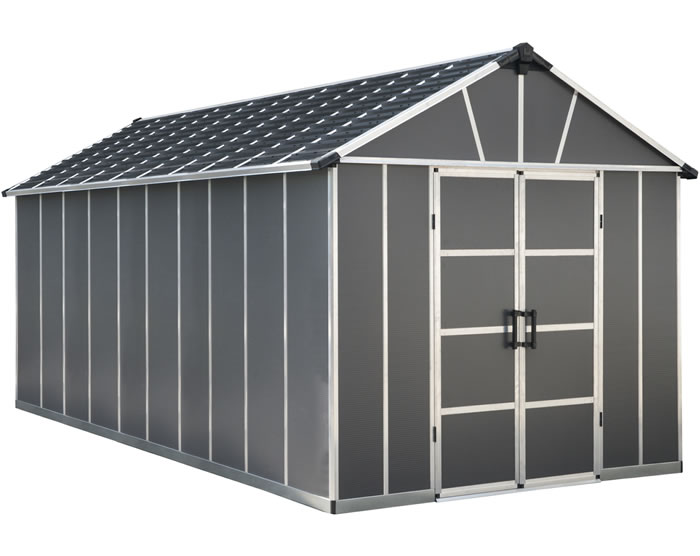 Palram Yukon 11x21 Plastic Storage Shed Kit - Gray