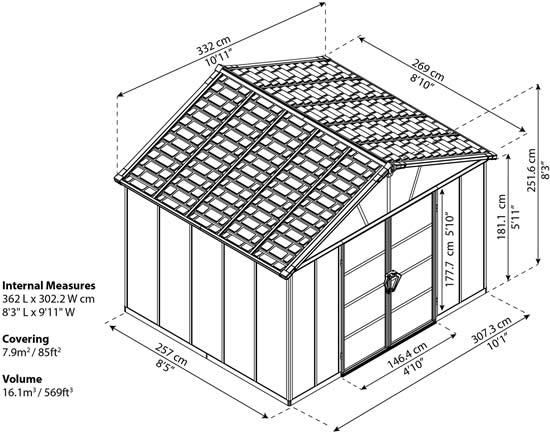 Palram Yukon 11x9 Shed Measurements