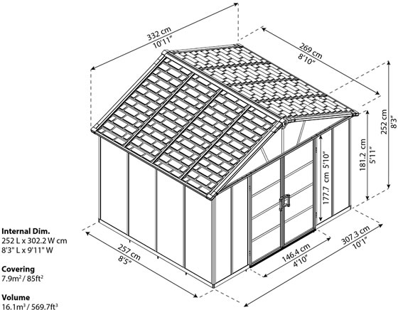 Palram Yukon 11x9 Shed Measurements