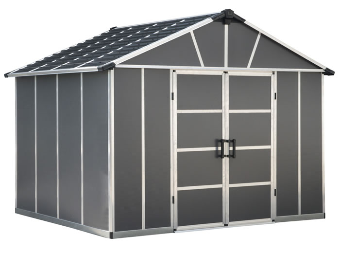 Palram Yukon 11x9 Plastic Storage Shed Kit - Gray