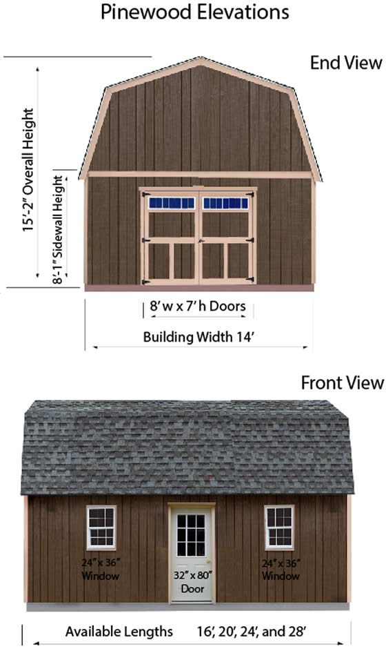 Pinewood 14 ft Wood Shed Dimensions