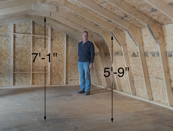 Ravenna Shed Loft has 7ft 1in of headroom at center