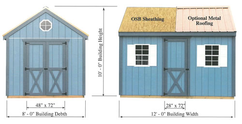 Regency 8x12 Shed Measurements Diagram