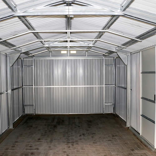 DuraMax 12x32 Light Gray Steel Garage - built with heavy duty steel truss system