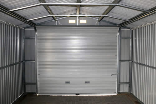 DuraMax 12x32 Light Gray Steel Garage - roll up style garage door included!