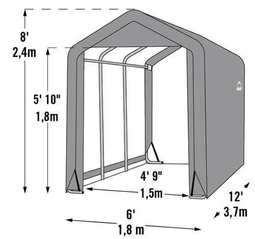 ShelterLogic 6x12x8 Shed-In-A-Box Measurements Diagram